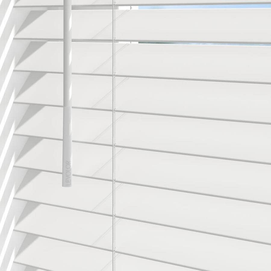 Levolor Trim Go 2 In Slat Width 35 In X 64 In Cordless White Faux Wood Room Darkening Full View Standard Horizontal Blinds In The Blinds Department At Lowes Com