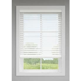 LEVOLOR 2.5-in Cordless White Room Darkening Faux Wood Blinds (Common: 47-in; Actual: 46.5-in x 72-in)
