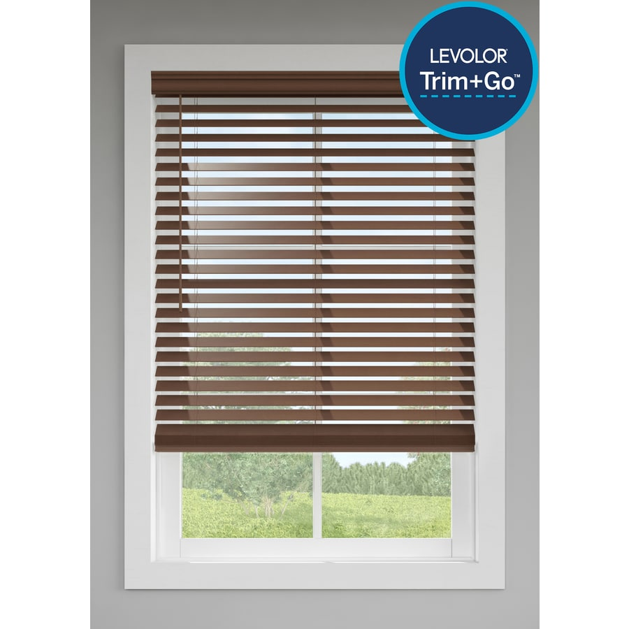 Levolor 2 5 In Cordless Walnut Faux Wood Blinds Common