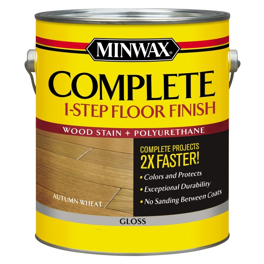 Minwax Complete 1-Step Floor Finish-Autumn Wheat Gloss 128-fl oz Autumn Wheat Gloss Water-Based Interior Stain