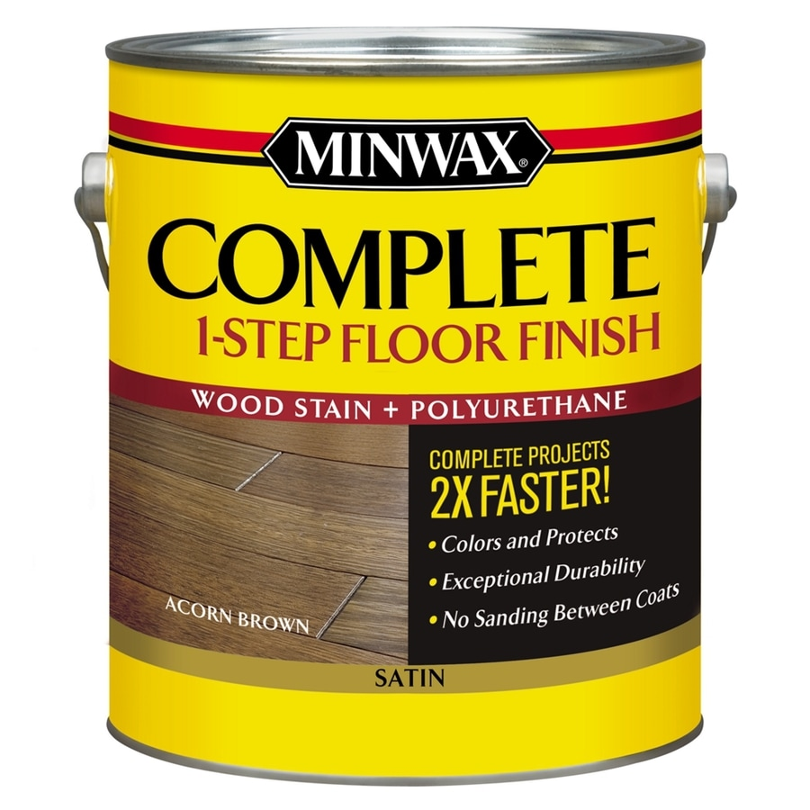 Minwax Complete 1-Step Floor Finish-Acorn Brown Satin 128-fl oz Acorn Brown Satin Water-Based Interior Stain