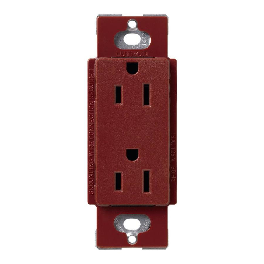 Shop lutron claro 15 amp 120 125 volt merlot indoor for Decorator collection outlet