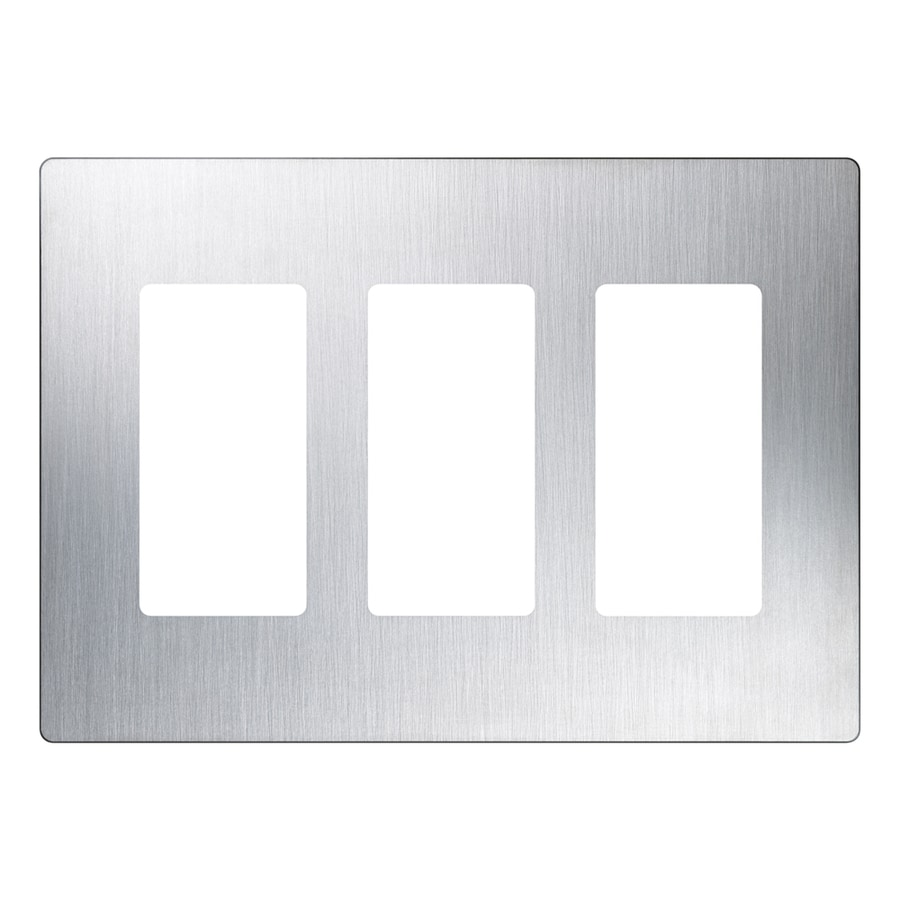 Lutron Claro 3-Gang Stainless Steel Decorator Rocker Metal Wall Plate