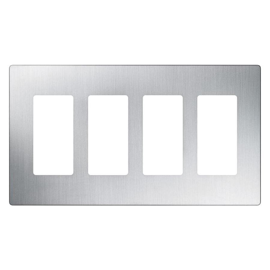 Lutron Claro 4-Gang Stainless Steel Decorator Rocker Metal Wall Plate