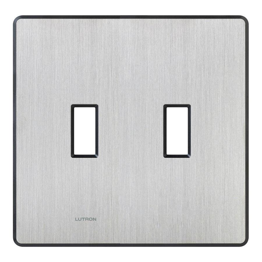 Lutron Fassada 2-Gang Stainless Steel Double Toggle Wall Plate