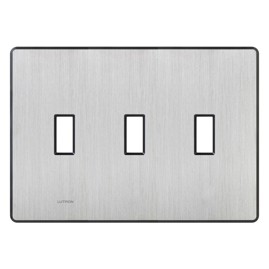 Lutron Fassada 3-Gang Stainless Steel Standard Toggle Metal Wall Plate