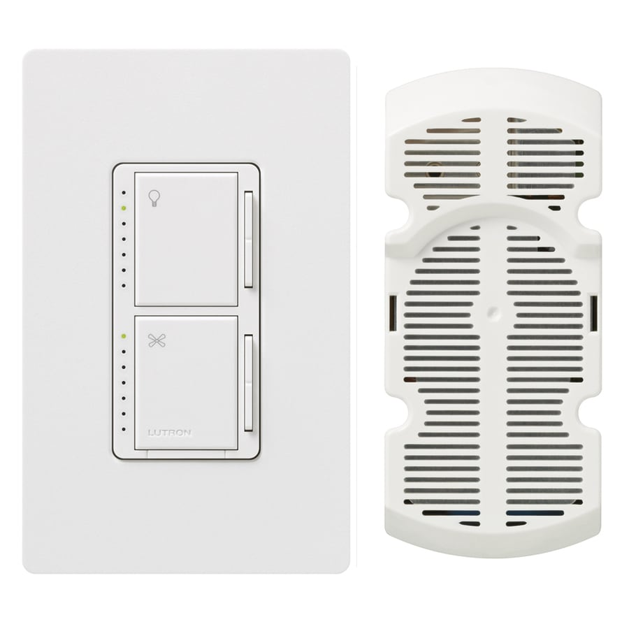 Lutron Maestro 300-Watt Single Pole White Touch Indoor Combination Dimmer And Fan Control