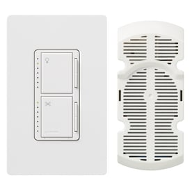 Lutron Maestro 300 Watt Single Pole White Touch Indoor Combination Dimmer And Fan Control