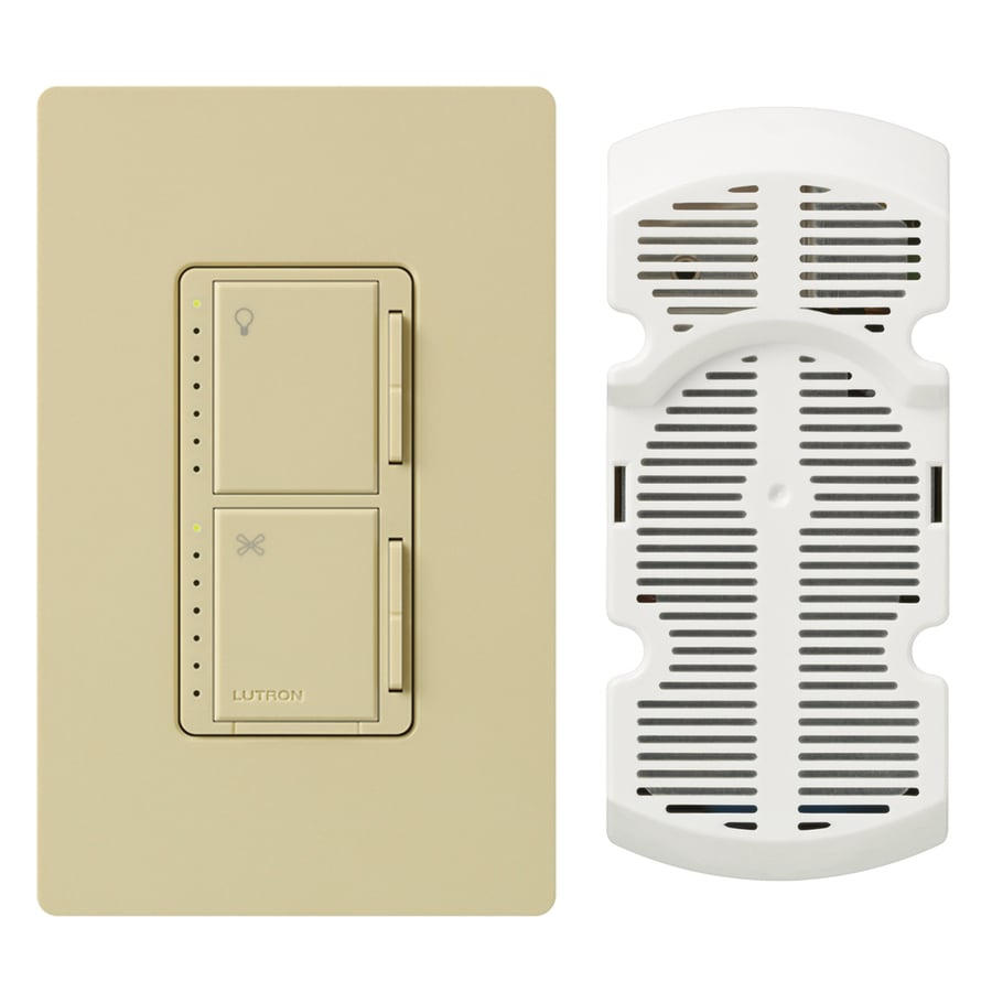 Lutron Maestro 300-Watt Single Pole Ivory Touch Indoor Combination Dimmer And Fan Control