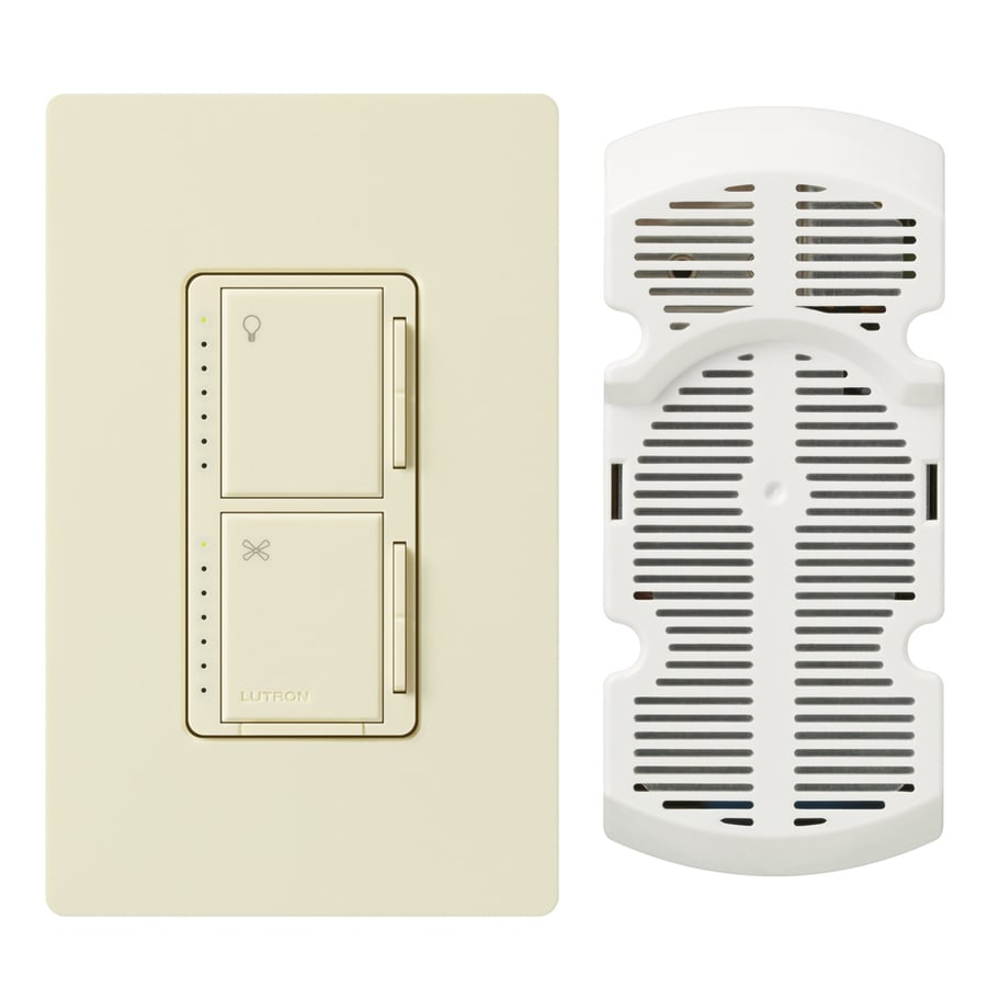 Lutron Maestro 300-Watt Single Pole Almond Touch Indoor Combination Dimmer And Fan Control