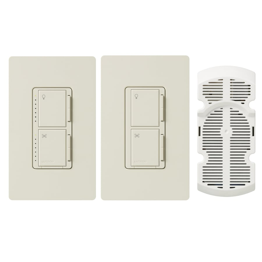 Lutron Maestro 300-Watt Single Pole 3-Way Light Almond Indoor Touch Combination Dimmer and Fan Control