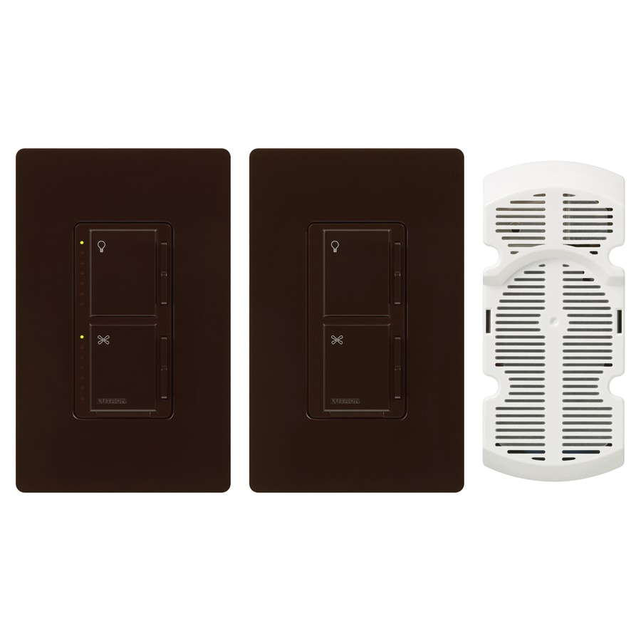 Lutron Maestro 300-Watt Single Pole 3-Way Brown Touch Indoor Combination Dimmer And Fan Control
