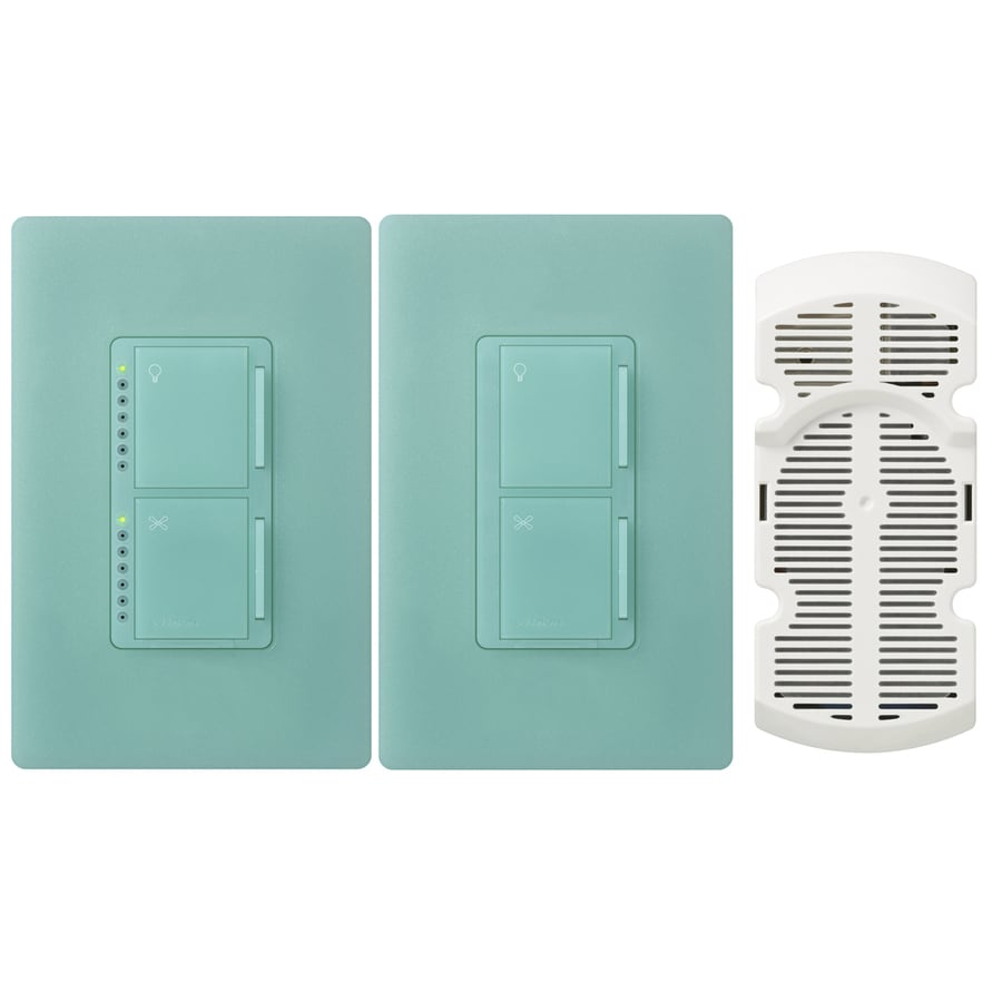 Lutron Maestro 300-Watt Single Pole 3-Way Sea Glass Touch Indoor Combination Dimmer And Fan Control