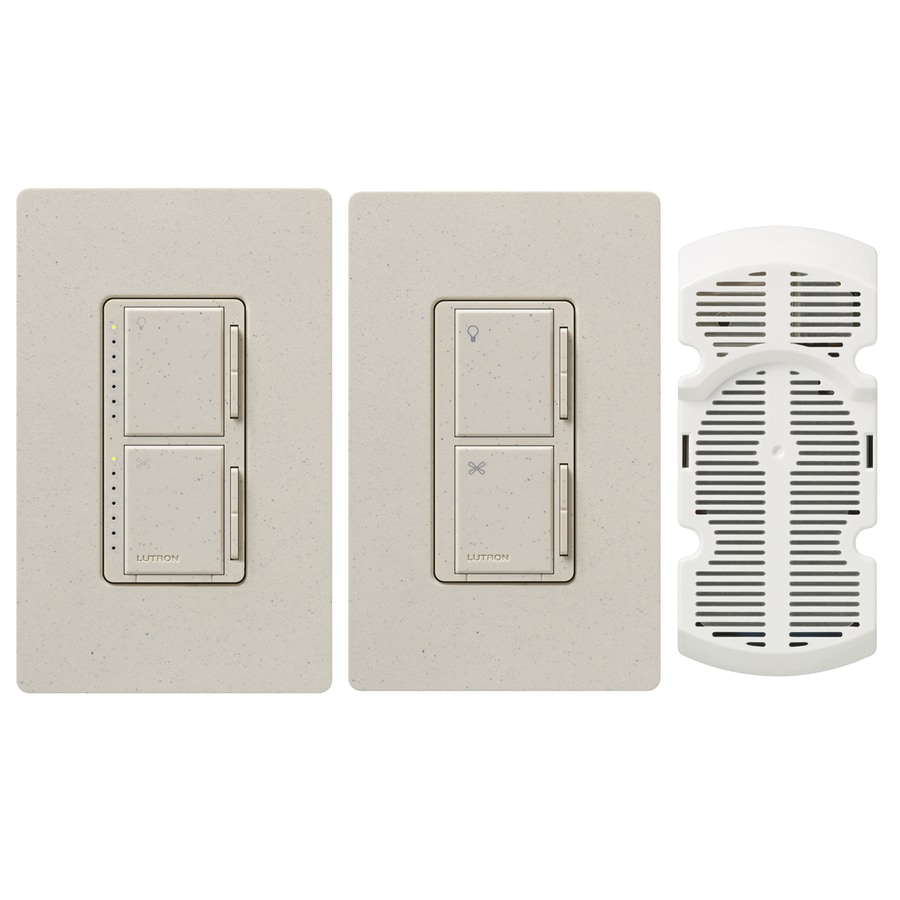 Lutron Maestro 300-Watt Single Pole 3-Way Limestone Touch Indoor Combination Dimmer And Fan Control