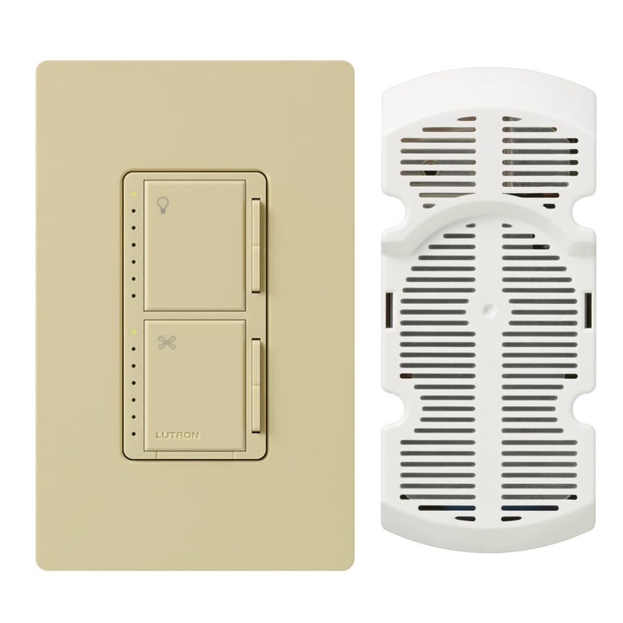Lutron Maestro 300-Watt Single Pole 3-Way Ivory Indoor Touch Combination Dimmer and Fan Control