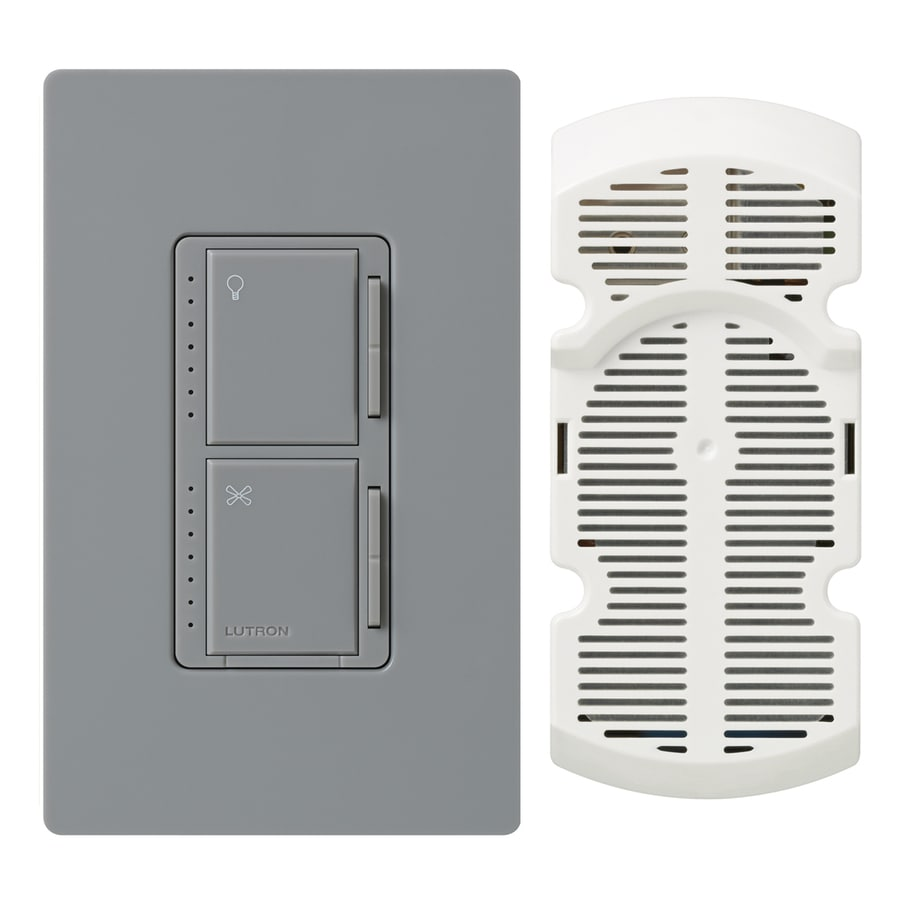 Lutron Maestro 300-Watt Single Pole 3-Way Gray Indoor Touch Combination Dimmer and Fan Control