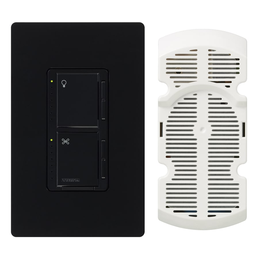 Lutron Maestro 300-Watt Single Pole 3-Way Black Touch Indoor Combination Dimmer And Fan Control