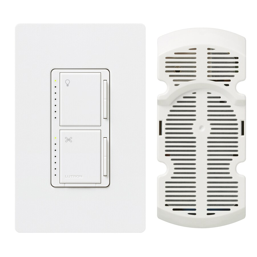 Lutron Maestro 300-Watt Single Pole 3-Way Snow Indoor Touch Combination Dimmer and Fan Control