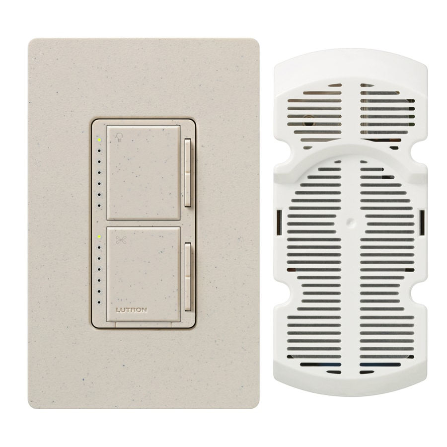 Lutron Maestro 300-Watt Single Pole 3-Way Limestone Indoor Touch Combination Dimmer and Fan Control