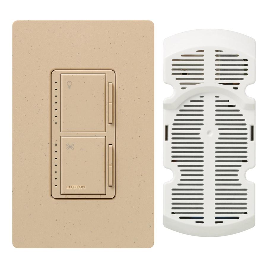 Lutron Maestro 300-Watt Single Pole 3-Way Desert Stone Indoor Touch Combination Dimmer and Fan Control