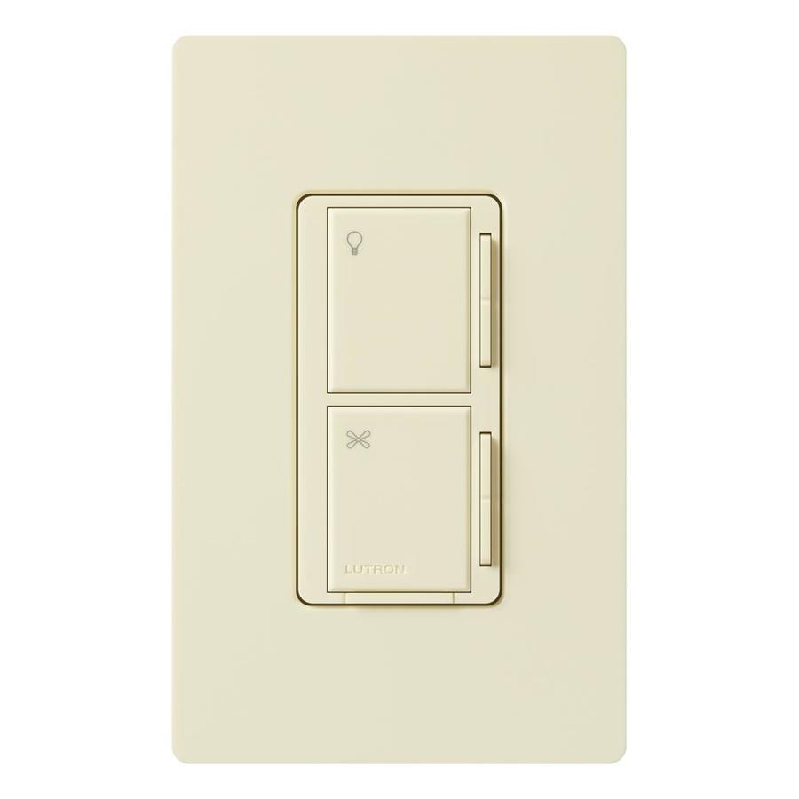 Lutron Maestro 300-Watt 3-Way/4-Way Almond Indoor Tap Combination Dimmer and Fan Control