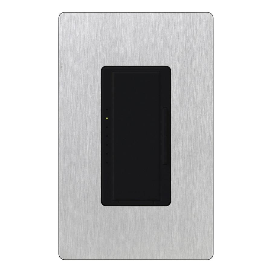 Lutron Maestro 600-Watt Single Pole Black/Stainless Steel Indoor Touch Dimmer