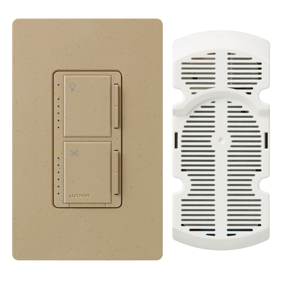 Lutron Maestro 300-Watt Single Pole 3-Way Mocha Stone Indoor Touch Combination Dimmer and Fan Control