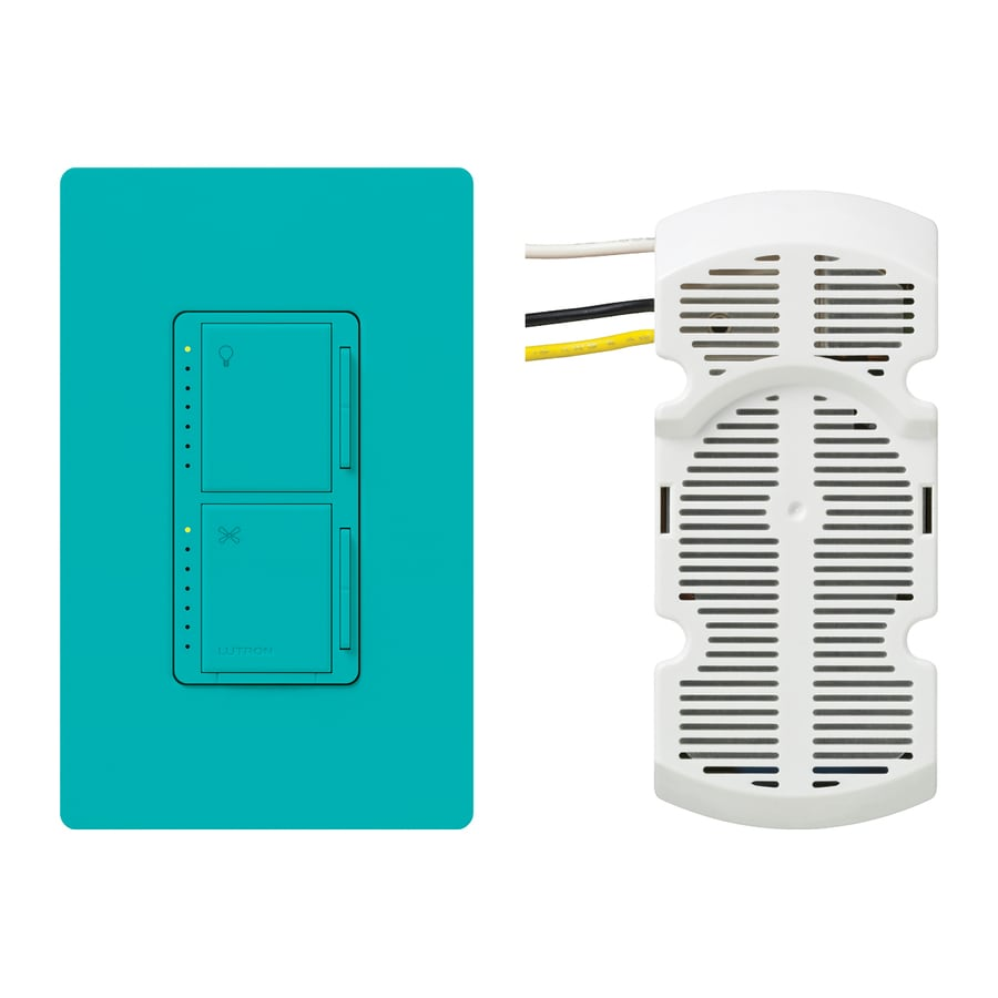 Lutron Maestro 300-Watt Single Pole 3-Way Turquoise Indoor Touch Combination Dimmer and Fan Control