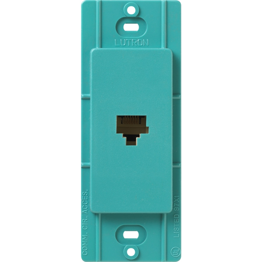 Lutron Claro Satin Color 1-Gang Turquoise Phone Wall Plate