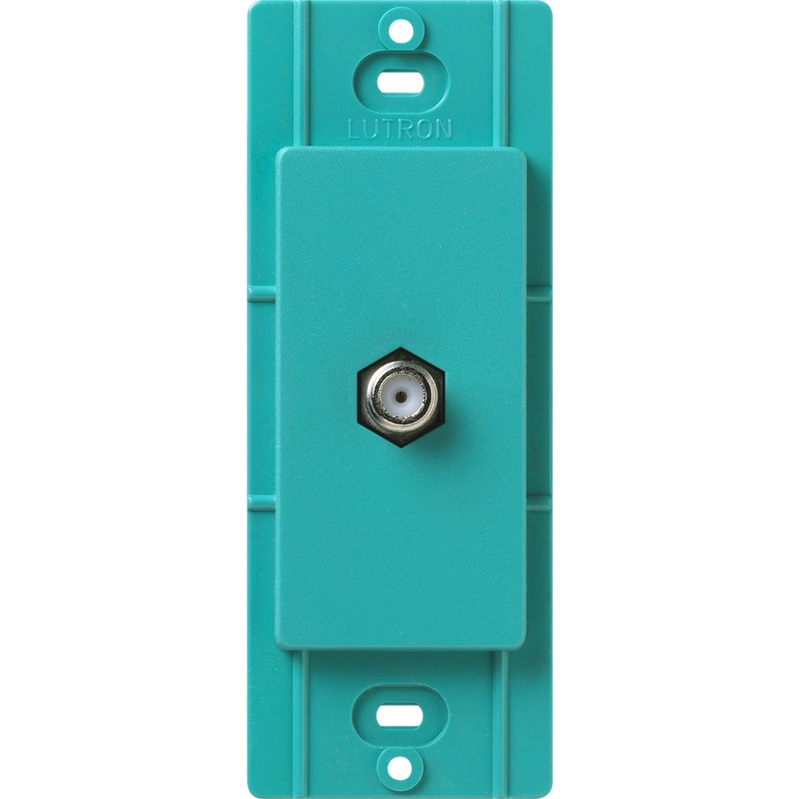 Lutron Claro Satin Color 1-Gang Turquoise Coaxial Wall Plate