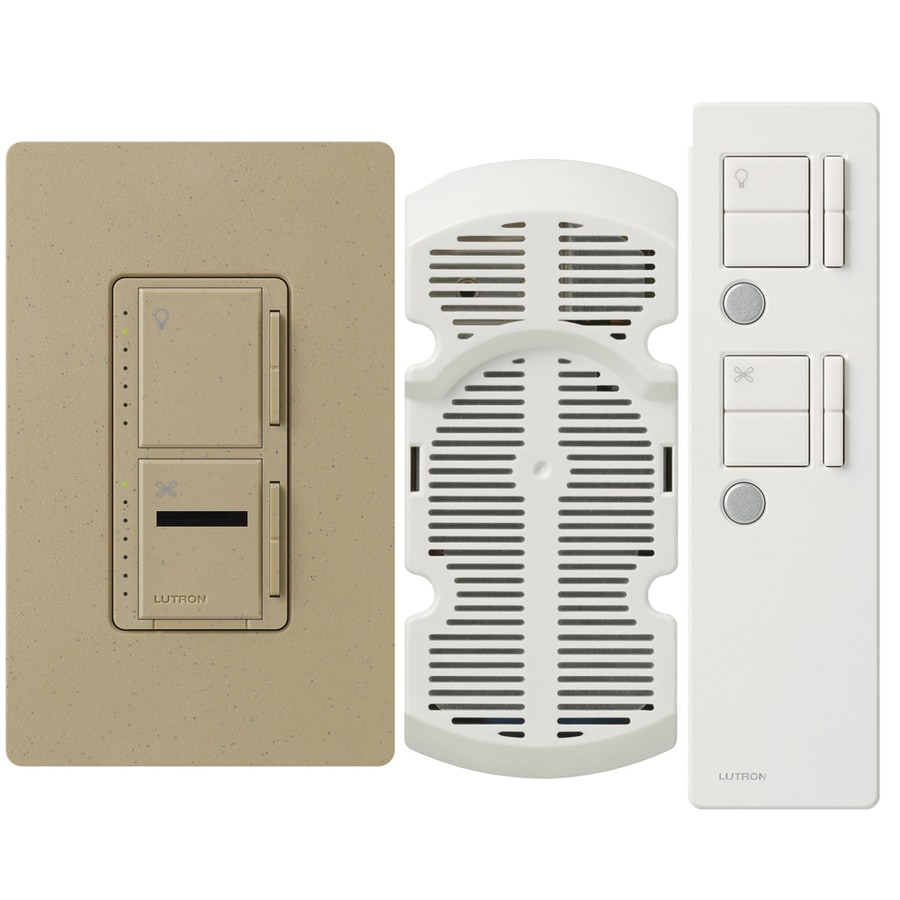 Lutron Maestro IR 300-Watt Single Pole Wireless Mocha Stone Indoor Remote Control Combination Dimmer and Fan Control