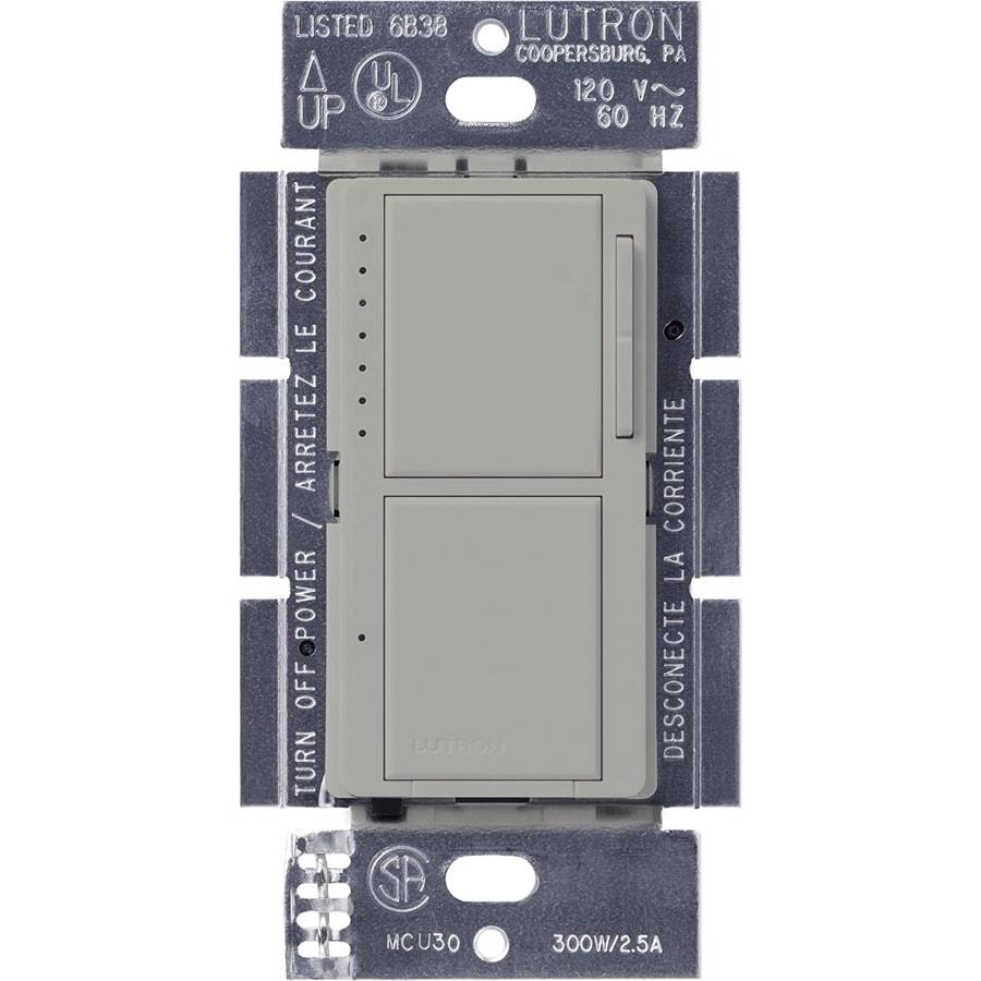 Lutron Maestro 300-Watt Single Pole Gray Touch Indoor Dimmer