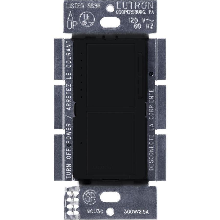 Lutron Maestro 300-Watt Single Pole Midnight Indoor Touch Dimmer