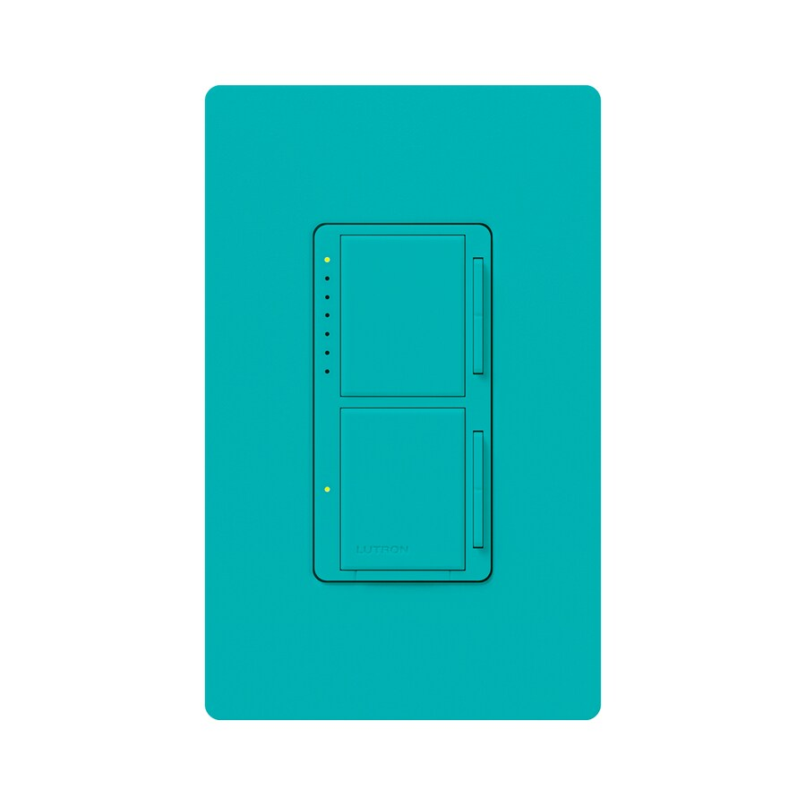 Lutron Maestro 300-watt Single Pole Turquoise Touch Indoor Dimmer