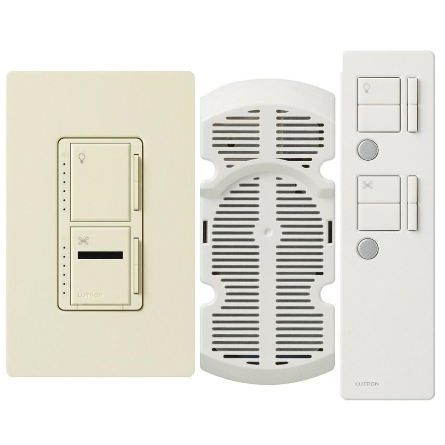Lutron Maestro IR 300-Watt Single Pole 3-Way Wireless Almond Indoor Remote Control Combination Dimmer and Fan Control