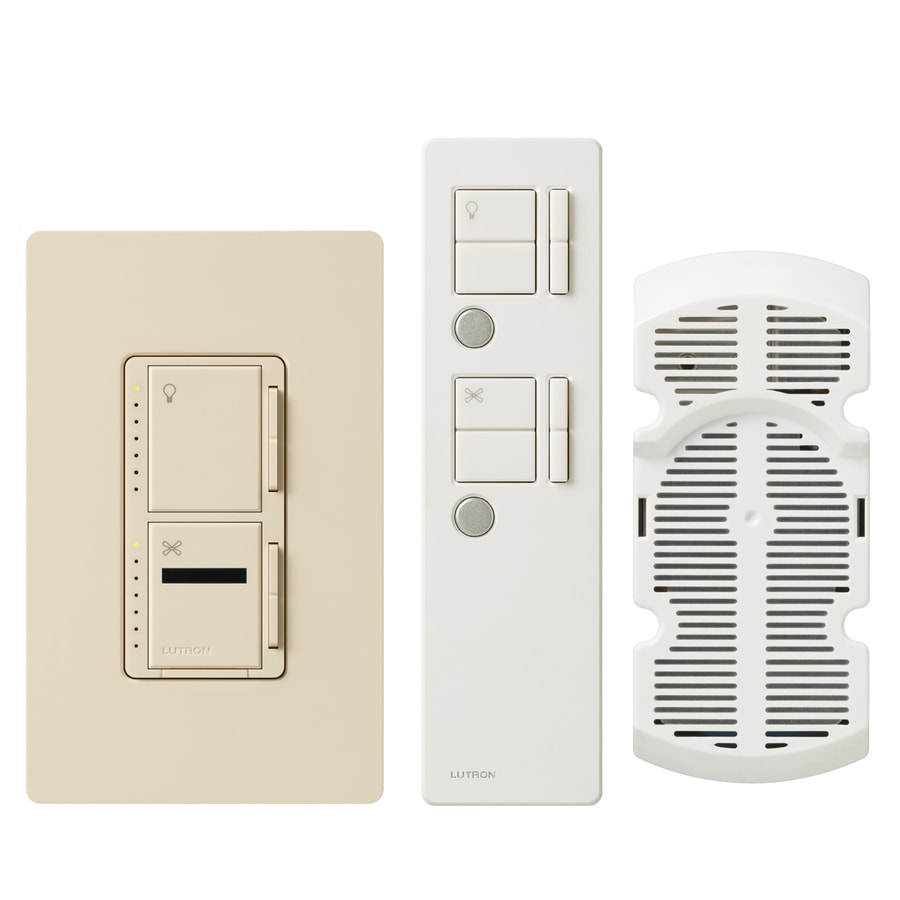 Lutron Maestro IR 300-Watt Single Pole 3-Way Wireless Light Almond Remote Control Indoor Combination Dimmer And Fan Control