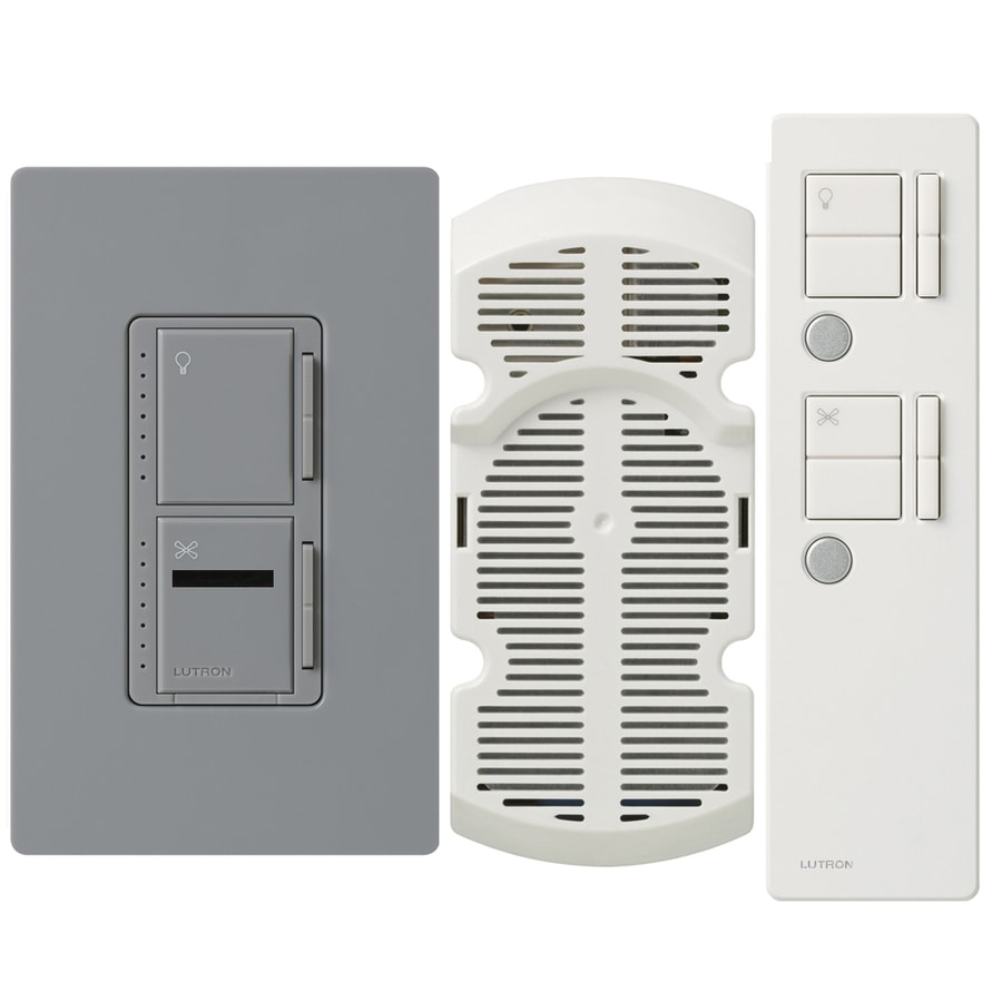Shop Lutron Maestro Ir 300 Watt Single Pole 3 Way Wireless Gray Dimmer Switch Fan Remote Control Indoor