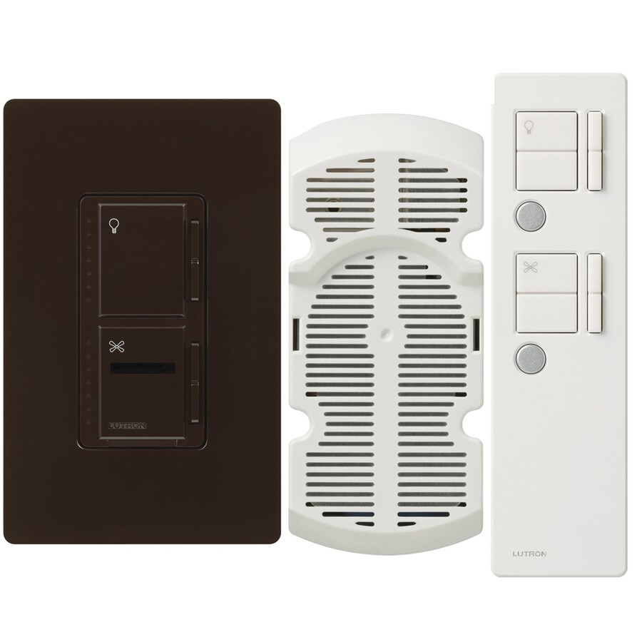 Lutron Maestro IR 300-Watt Single Pole 3-Way Wireless Brown Indoor Remote Control Combination Dimmer and Fan Control