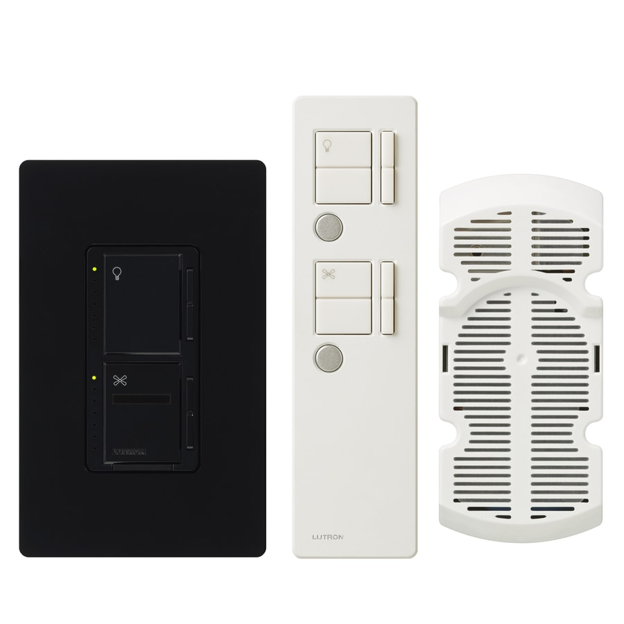 Lutron Maestro IR 300-Watt Single Pole 3-Way Wireless Black Indoor Remote Control Combination Dimmer and Fan Control