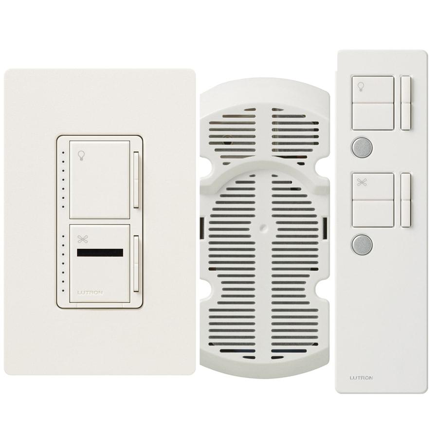Lutron Maestro IR 300-Watt Single Pole 3-Way Wireless Biscuit Indoor Remote Control Combination Dimmer and Fan Control