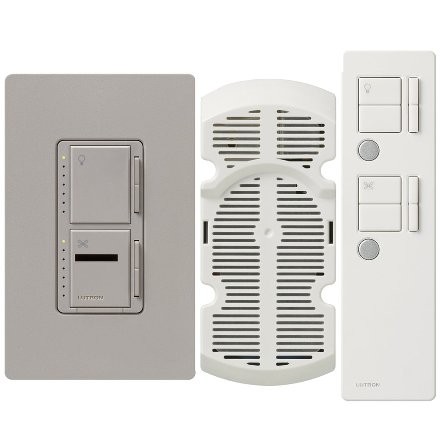 Lutron Maestro IR 300-Watt Single Pole 3-Way Wireless Taupe Indoor Remote Control Combination Dimmer and Fan Control
