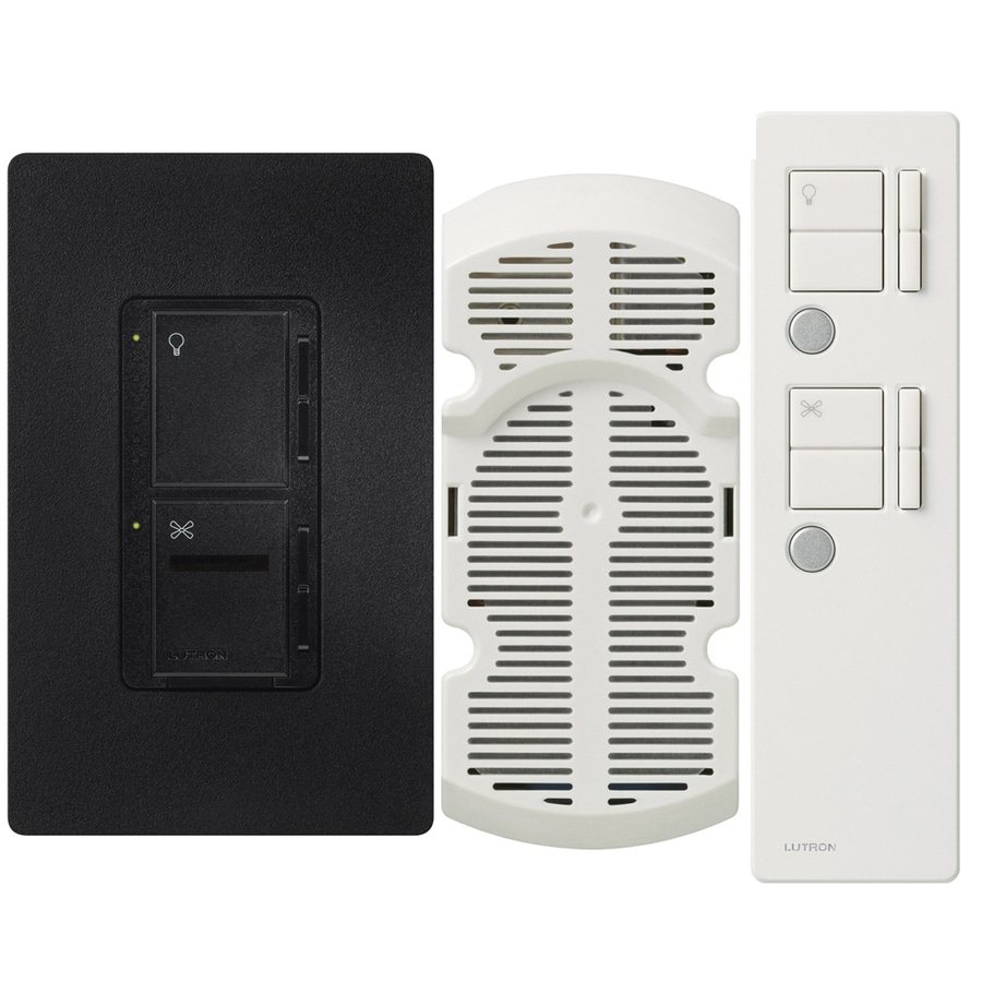 Lutron Maestro IR  300-watt Single Pole 3-way Wireless Midnight Remote Control Indoor Combination Dimmer And Fan Control