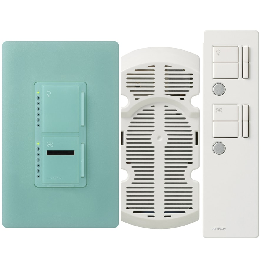 Lutron Maestro IR 300-Watt Single Pole 3-Way Wireless Sea Glass Indoor Remote Control Combination Dimmer and Fan Control