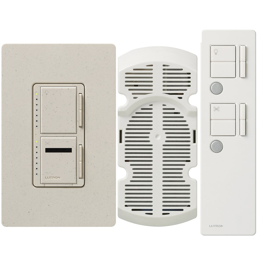 Lutron Maestro IR 300-Watt Single Pole 3-Way Wireless Limestone Indoor Remote Control Combination Dimmer and Fan Control