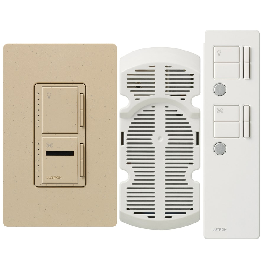 Lutron Maestro IR 300-Watt Single Pole 3-Way Wireless Desert Stone Indoor Remote Control Combination Dimmer and Fan Control