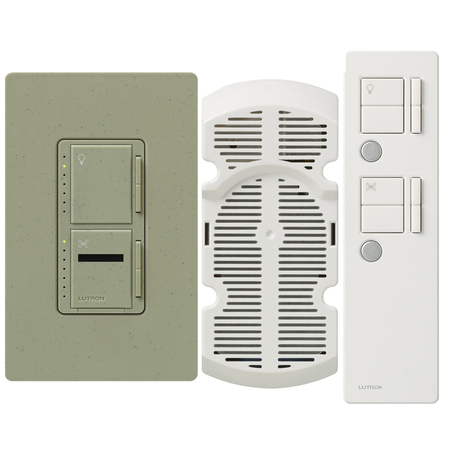 Lutron Maestro IR 300-Watt Single Pole 3-Way Wireless Greenbriar Remote Control Indoor Combination Dimmer And Fan Control