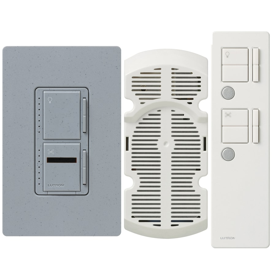 Lutron Maestro IR 300-Watt Single Pole 3-Way Wireless Bluestone Remote Control Indoor Combination Dimmer And Fan Control
