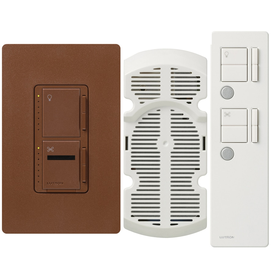 Lutron Maestro IR 300-Watt Single Pole 3-Way Wireless Sienna Indoor Remote Control Combination Dimmer and Fan Control