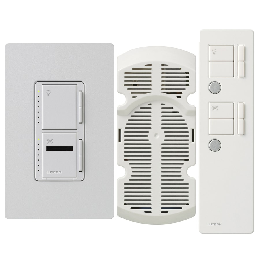 Lutron Maestro IR 300-Watt Single Pole 3-Way Wireless Palladium Indoor Remote Control Combination Dimmer and Fan Control