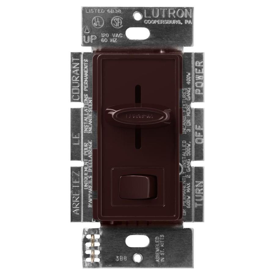 shop lutron skylark 600 watt single pole 3 way brown indoor dimmer at. Black Bedroom Furniture Sets. Home Design Ideas
